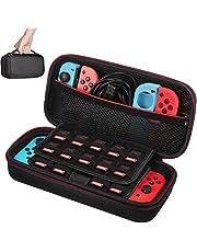 Etui pour Nintendo Switch - Younik Housse de Transport Rigide Version Améliorée avec Espace de Stockage Plus Large pour 19 Jeuxet Autres Accessoires Nintendo Switch - Rouge & Blanc