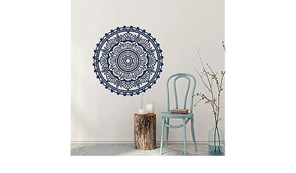 wukongsun Mandala China Flor Pared calcomanía Azul y Blanco Porcelana Arte Mural Vinilo Pegatina decoración del hogar 57cmx57cm: Amazon.es: Hogar