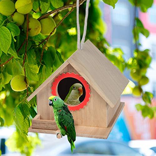 NIHAI Wooden Birdhouses Bird House, Large Nest House Wall-Mounted Outdoor Nest Bird House Garden Patio Decorative for Dove Finch Parrot Sparrow Animal- 18.5x16x14.5cm