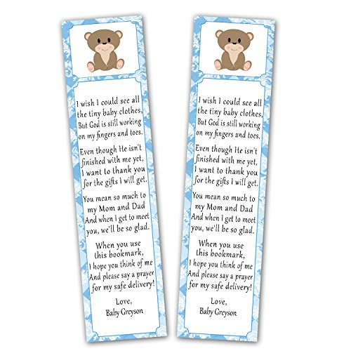 50 Personalized Bookmarks Baby Boy Shower Party Favor Gift Ideas Bear Blue Brown