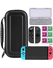 Bestico 7 in 1 Zubehör für Nintendo Switch, Beinhalteteine Nintendo Switch Tasche, Game Card Hüll, 3x Displayschutzfolie, Joy-Con Schutz
