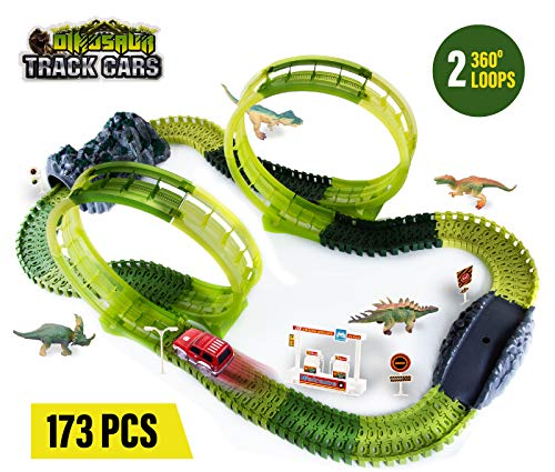 Dinosaur Toy Playset 173 Piece. Race Car Track Set Double Loop Jurassic World Flexible DIY Race Car Track Building Set with Dino Accessories, Flexible Track with LED Car Kit for Kids with Tunnel Gift from Coral Entertainments