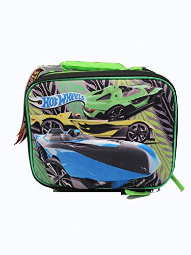 Hot Wheels Lunch Box With Pop-Out Racer Diecast Hot Wheel Green Car Yellow Car Blue Car Design