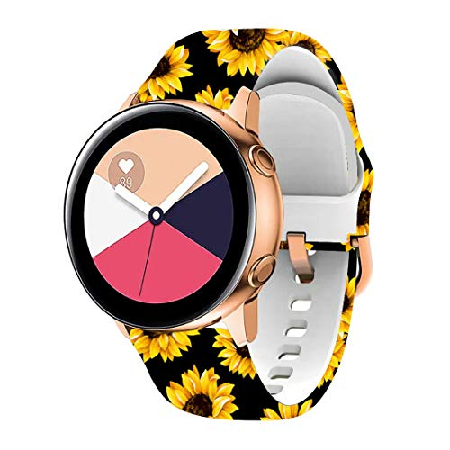 Daze Strap for Samsung/Huawei 20mm 22mm Soft Silicone Replacement Bands Basketball Sports Sunflowers or US-Flag or Rainbow(Sunflower-B 20mm)