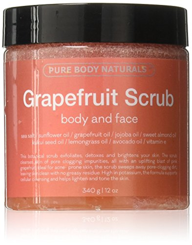 Exfoliating Grapefruit Body Scrub for Face and Body Exfoliating Scrub for Acne and Inflammation, 12 Ounce by Pure Body Naturals
