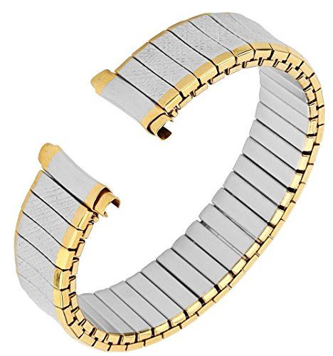 Men's Stainless Steel Stretch Watch Band, Flex Radial Expansion Replacement Strap, 16-19 mm, Straight End, No Clasp - Two Tone Gold & Silver - by United Watchbands