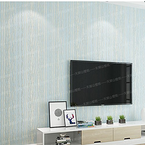 Wxl Modern minimalist non-woven self adhesive wallpaper 3D stereo striped bedroom living room TV background wallpaper solid color 9.841.73ft (Color : Light blue.) ()