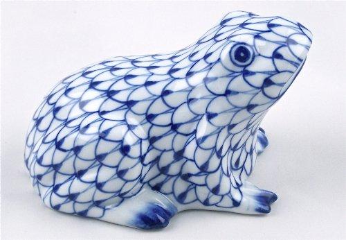 Fine Porcelain China Sitting Frog Toad Figurine Hand Painted Cobalt Blue Net