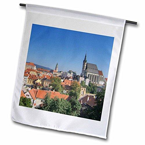 3dRose fl_81221_1 Czech Republic, Cesky Krumlov Castle Tower Ergenbright Garden Flag, 12 by 18-Inch