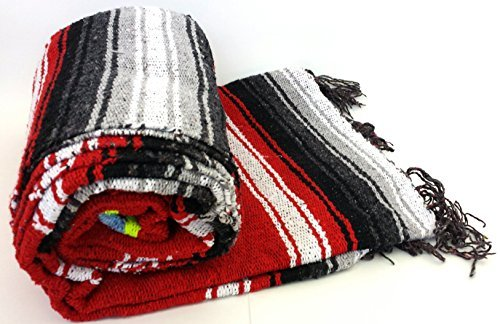 Heavyweight Red Diamond Mexican Yoga Blanket, Extra Thick Serape