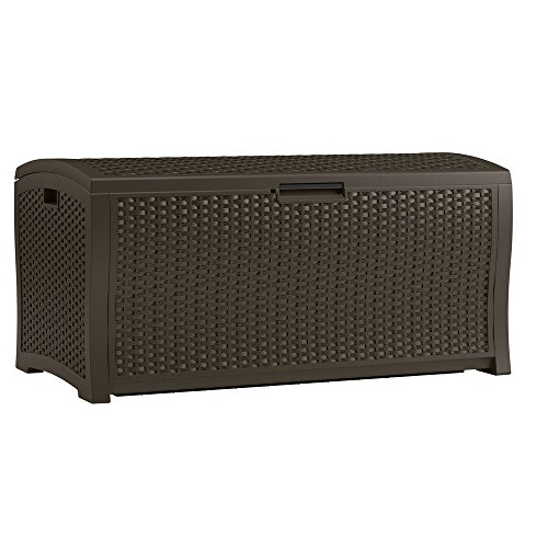 zwan 122 Gallon Extra Large Resin Rattan Outdoor Wicker Deck Storage Box with ()