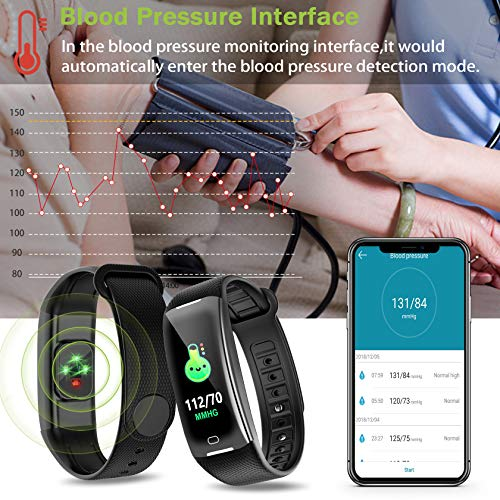 KARSEEN Fitness Tracker Smart Watch H3 Color Screen for Blood Pressure and Heart Rate Monitor Phone Enabled IP67 Waterproof Pedometer Sports Watch for Men (Black) by KARSEEN (Image #3)