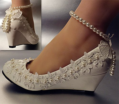 Crystal White Hochzeit Keil Hochzeit JINGXINSTORE Pumps Braut Schuhe Lace White TEwZqR