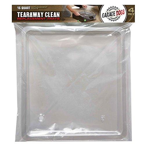 GarageBOSS Oil Tear Away Clean Replacement Trays (4 Pack), 16 quart