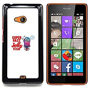 "Qstar Arte & diseño plástico duro Fundas Cover Cubre Hard Case Cover para Nokia Lumia 540 (Cute Funny Super Fast Fish Jelly"")"