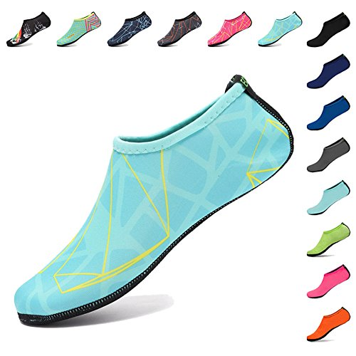 EQUICK Water Socks Durable Aqua Fins Barefoot Shoes New Version Updated  Size Beach Pool Swim Surf Yoga Exercise