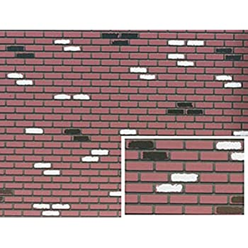 Miniature Brick Sheet of Red and White on Black Brick
