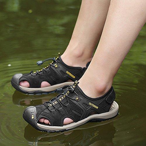 In Black Estivi Estivi A Sandali Sandali Scarpe Con Velcro Da Calzature Sportivi Chiusura Da Uomo Passeggio HGDR Pelle Sandali Trekking Escursionismo Da qvtBtw1