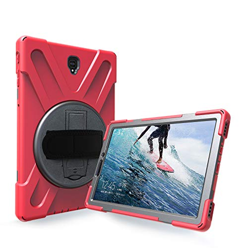 Azzsy Galaxy Tab S4 Case,[360 Degree Swivel Stand/Hand Strap] Heavy Duty Shockproof Rugged Case High Impact Full Body Protective Case for Samsung Galaxy Tab S4 10.5 2018 (SM-T830/T835/T837) (red)