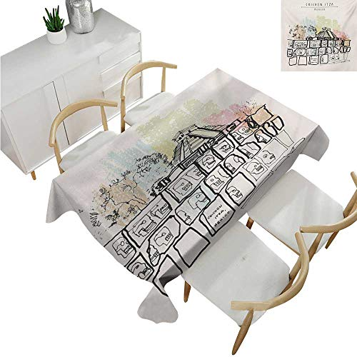 (Mexican,Party Table Cloth,Ancient Temples in Chichen Itza Tzompantli Kukulkan Crypt Tomb Pyramid El Castillo,Table Flag Home Decoration 70