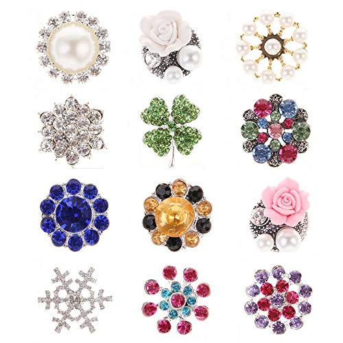 12Pcs Rhinestone Pearl Embellishments, Rhinestone Flower Flatback Pearl Buttons DIY for Jewelry Making, Wedding DIY Supplies, Clothes, Bags, Shoes and Sew Craft Projects