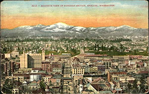 Birdseye View Of Business Section Spokane, Washington Original Vintage Postcard (Birdseye View Business)