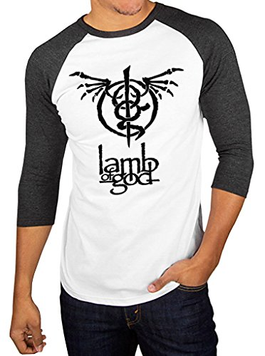 Lamb Of God Wrath Skeleton Band Logo Baseball Raglan 3/4 Sleeve Men's T-Shirt Large White/Charcoal Black