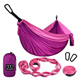 Gold Armour Camping Hammock - SINGLE Parachute Camping Hammock (2 TREE STRAPS 16 LOOPS/10 FT INCLUDED) Lightweight Nylon Portable Hammock, Best Parachute Single Hammock (Fuchsia/Pink)