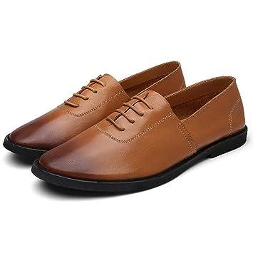 YAN Zapatos para Hombres Zapatos Casuales de Cuero Zapatos Mocasines Transpirables con Tacones Bajos Zapatos de