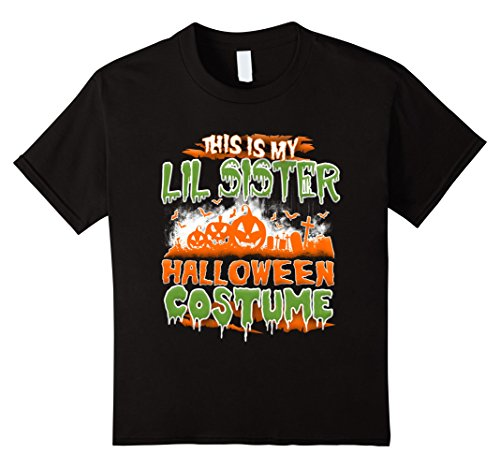 Lil Sister Child Costumes (Kids This is my lil sister Halloween Costume shirt 10 Black)