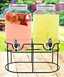 Estilo Glass Mason Jar Double Beverage Drink Dispenser On Metal Stand With Leak Free Spigot, 1 Gallon Each