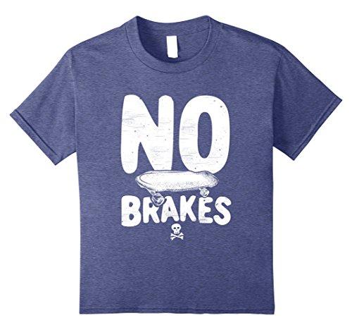 Kids No Brakes Skull & Crossbones Skateboard Apparel T-Shirt 8 Heather Blue