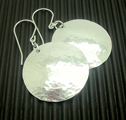 [Sterling Silver Disc Earrings, Hammered, Medium Size, 1 Inch] (Handmade Hammered Ring)