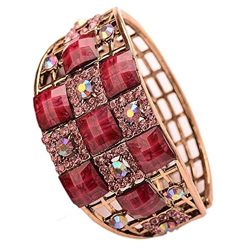 Enamel Multicolor Luxurious Rose Reto Bangle Bracelet with Natural Crystals Fantasy Jewelry For Women (Multi Color Enamel Bracelet)