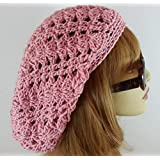 Rose Pink Slouchy Beanie Lacy Crochet Hat for Women Made in USA