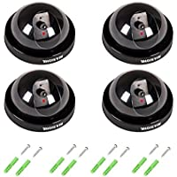 Masione 4 Pack Indoor Outdoor CCTV Fake Dummy Dome Security Camera with Flahsing RED LED Light