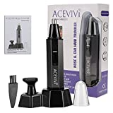 ACEVIVI Nose Trimmer Mustache Electric Shaver Dual-Edge Blades 2-in-1 Waterproof Stainless Steel Rechargeable for Nose, Ears and Eyebrows