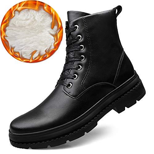 Warm Casual Warm da Black HIGT Scarpe Stivali Allacciatura Tomaia Velvet Uomo Martin Rotonda Boots Opzionale Top Pelle da in Morbido sAnkle Cricket qwUE6