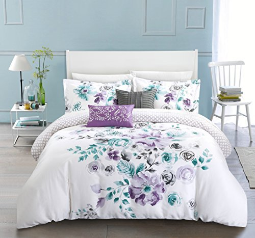 Chic Home 5 Piece Belleville Garden Reversible floral print and geometric patterned technique Queen Comforter Set ()