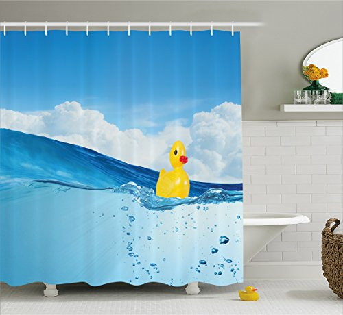 Ambesonne Rubber Duck Shower Curtain Set, Little Duckling Toy Swimming in Pond Pool Sea Sunny Day Floating on Water Print, Fabric Bathroom Decor with Hooks, 70 Inches, Blue Yellow