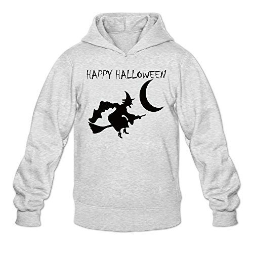 Man Curious Candy Ghost Pumpkin Halloween Hoodie Sweatshirt Ash ()