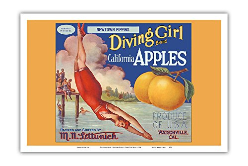 California Apples - Newtown Pippins - Diving Girl Brand - Vintage Fruit Crate Label c.1920s - Master Art Print - 12in x 18in