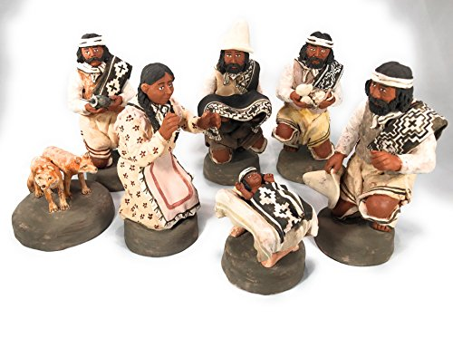Argentine Handmade Gaucho Nativity Set 7 pieces. Holy Family Figurines Christmas Pampa Clay Nativity Set