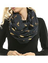 Women Soft Scarf Feather Print Lightweight Shawl Warm Bronzing Neck Wrap Scarves