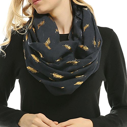 Women Soft Scarf Feather Print Lightweight Shawl Warm Bronzing Neck Wrap Scarves (Navy)