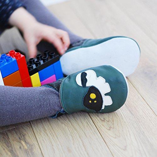 Zapatillas de Niño Niña - Patucos de cuero con elástico para Bebé - Zapatillas Primeros Pasos - Zapatillas infantiles gris con una tortuga