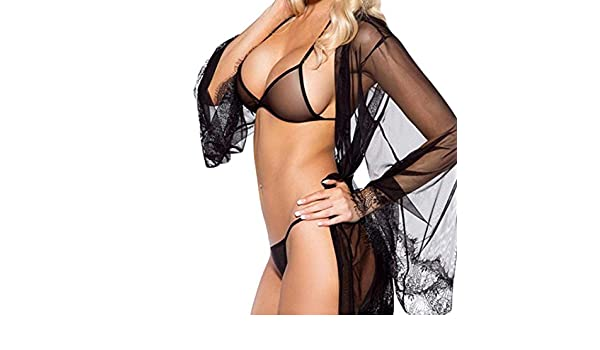 fca5d6e1741 Amazon.com  Hot Sale! Women s Sexy Lingerie E-Scenery 2 Pcs Dressing Gown  Plus Size Bra + G-String Babydoll Lingerie Set  Clothing