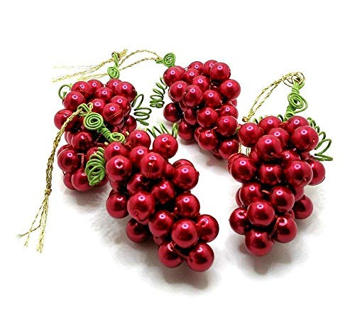 Grape Clusters Beaded, Red Glass Beads, Mid Size, Handmade, Set of 4