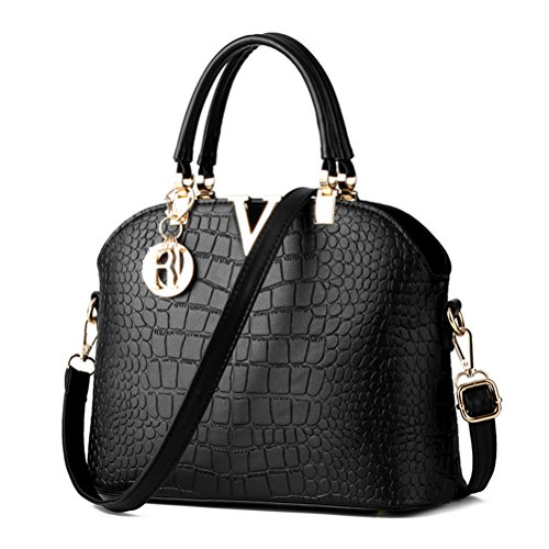 LIZHIGU Womens Leather Shoulder Bag Top-handle Handbags Crocodile Pattern Tote Purses Black