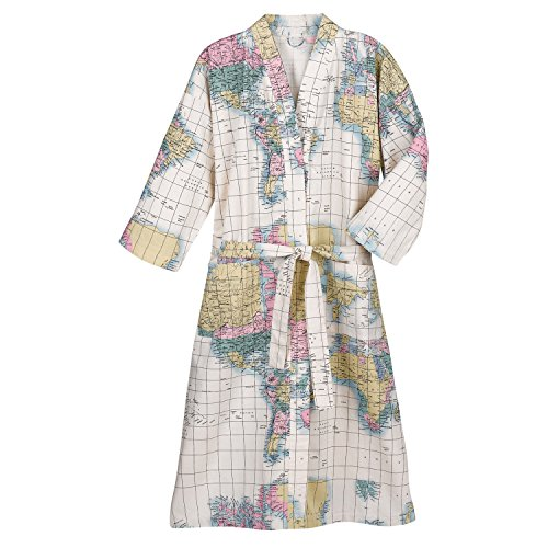 WHAT ON EARTH Women's World Map Kimono Style Bath Robe - 100% Cotton - L/XL White